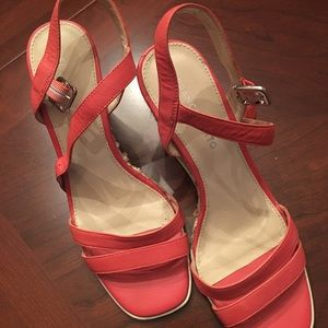 Coral wedge heeled shoes by Franco Sarto, sz 9.